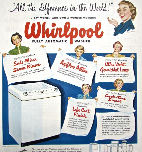 Items Similar To 1950s Vintage WHIRLPOOL WASHING MACHINE Ad Magazine Laundry Advertising Ephemera Fun Colour Retro Appliance Mom On Etsy
