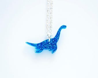 Tiny Glitter Dinosaur Necklace, Plesiosaur Necklace, Sparkly Dinosaur Necklace, Dinosaur Pendant, Glitter Acrylic Jewellery, Bridesmaid Gift