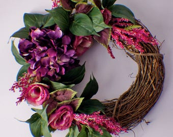 Hydrangea Wreath, Year Round Hydrangea Wreath, Front Door Wreath, New Home Door Wreath, Hydrangeas and anemone wreaths,  Ready to Ship