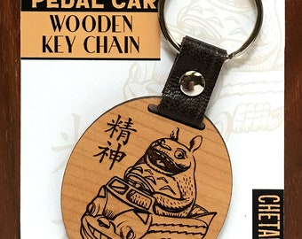 Wood Spirit Pedal Car- Wooden Keychain- Laser Etched Cherry Wood