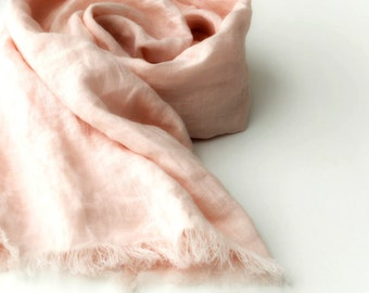 blush peach scarf, pure linen, long pale coral lightweight summer wrap