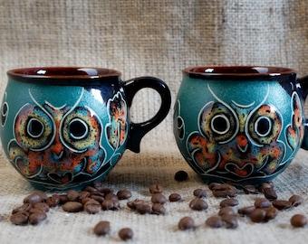 Ceramic mug for wife Set of 2 Owls mug Hand painted mugs Gift for girlfriend Gift for her Gift ideas Espresso cups Coffee mugs Tea mugs