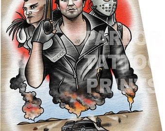 Mad Max Road Warrior Tattoo Flash Art Print