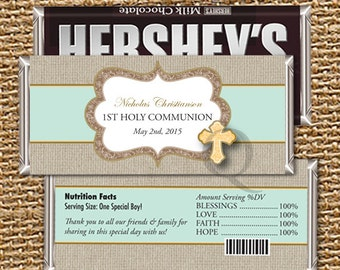 Candy Bar Wrapper, Party Favors, First Holy Communion, Personalized, Hershey Wrapper, Party, Chocolate Wrapper, Cross