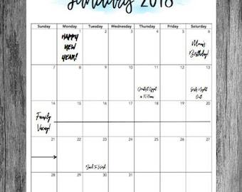 2018 Calendar (Printable)