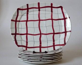 """Set of Midwinter Stylecraft """"Homeweave Red"""" plates, des. Jessie Tait, 1950s vintage retro."""