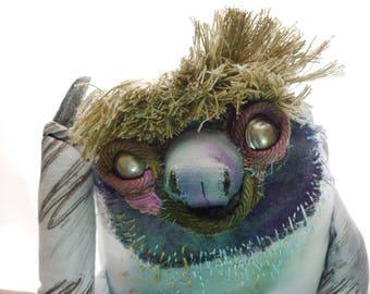 Neville, stuffed sloth handmade art doll