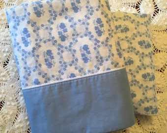 Cannon Royal Family Cameo Rose - Blue  - Full Size Flat & Full Sheets - Vintage Bedding - Blue Floral Bedding