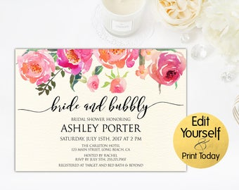 Floral Bridal Shower Invitation, Bridal Shower Invitation Template, DIY Bridal Shower Invite, Bridal Luncheon, Brunch And Bubbly, Bridal