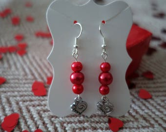 Red Heart Dangle Earrings. Valentines gift for her. Valentines earrings. Heart earrings. Under tenner valentines gift. Pierced or clip on