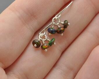 Gemstone Cluster Earrings, Black Ethiopian Opal, Opal Earrings, Cluster Earring