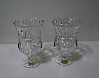 1 Pair of Block 24% Lead Crystal/Tulip Design/Candle Holder/Hurricane Candlestick/Spring Decor/Mother's Day/Wedding/Bridal Shower