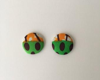 Ankara Button Earrings  African Print  Handmade Earrings  Jewelry  African Jewelry