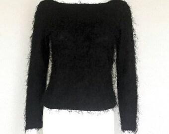 Fuzzy black 90s sweater long sleeve top by Nessesary Objects - medium