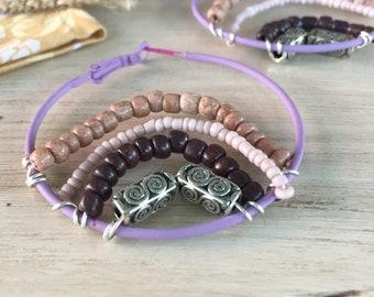 Lavender and Brown Hoop Earrings
