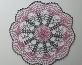 handmade crochet doily, gray and pink lace doily - 14 inch - girl room - handmade doily, two toned doily, multi colored doily