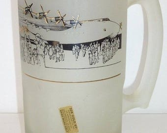 """HOWARD Hughes SPRUCE GOOSE 22K Gold Commemorative Frosted Beer Stein Mug 8"""" Tall"""