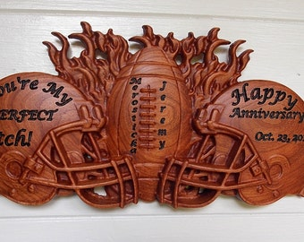Football Helmets - Football Decor Rustic Wall Art - Unique Gift for Couples ~ Personalized Football Gift ~ Sports Wood Wall Decor