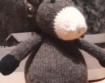 DONKEY  Toy Hand Knit Plush Animal