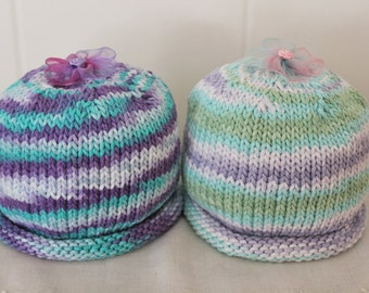 Size 3 - 6 Months Hand Knit Cotton Baby Hats in Complimentary Variegated Yarn Colors