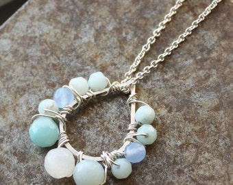 Waterlillies Necklace - Quartz, Chalcedony, Sterling Silver