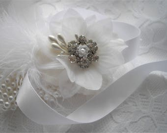Bridal Hair Clip White Organza Flower With Feathers Pronged Rhinestone Pearls Wedding Hair Clip Sash Pin Bride Corsage Handmade handcraftusa