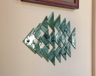 Green fused glass fish, fish wall art, Hostess gift