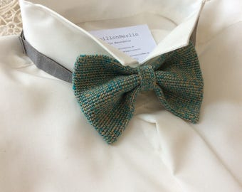Knitted fly, silk/wool, turquoise/green/gold/beige