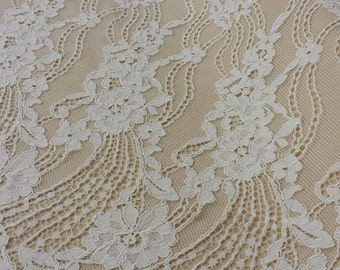 Ivory lace fabric by the yard, French Lace, Embroidered lace, Bridal lace, White Lace, Veil lace, Lingerie Lace Chantilly Lace L69202