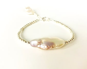 Sterling Silver and Keshi Pearl