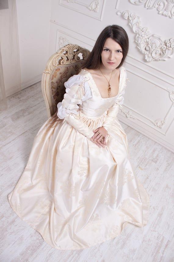Renaissance Wedding Dress Ivory 15th Century Italian Gown