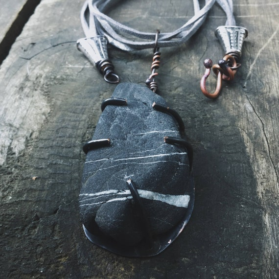 Rustic natural stone necklace - jewels from the earth
