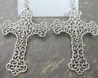 Filigree Cross Earrings in Antiqued Silver or Antiqued Brass