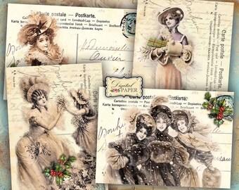Winter Day - digital collage sheet - set of 4 cards - Printable Download