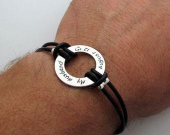 Custom Mens Bracelet, Mens Personalized Leather Bracelet, Gift for Husband, Boyfriend, Groomsmen Gift - Black or Brown Bracelet - Engraved
