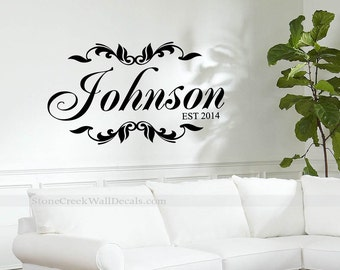 Personalized Monogram Family Name Vinyl Wall Decal Housewares Vinyl Wall Decor Family Name Initial Est Year Personalized Decal Vinyl N020