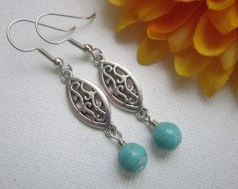 Turquoise Dangle Drop Earrings. Beaded Earrings. Long Turquoise Earrings. Handmade Silver Filigree Turquoise Earrings.