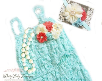 Lace Romper First Birthday Cake Smash Photo Outfit Girl  Aqua Teal Coral Romper Headband SET, Toddler Girl Ruffled Lace Outfit, Photo Prop
