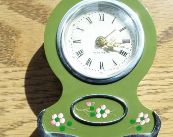 Vintage Forest Green French Country Westclox Alarm Clock