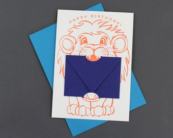 Happy Birthday Lion - Letterpress Gift Card Holder