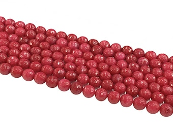 1Full Strand Red Jade Faceted Round Beads,8mm 10mm Jade Gemstone For Jewelry Making