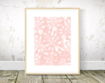 Monstera Print, Tropical Print, Blush Pink Wall Art, Pink Wall Decor, Pink Art, Tropical Art, Abstract Art, Printable Wall Art