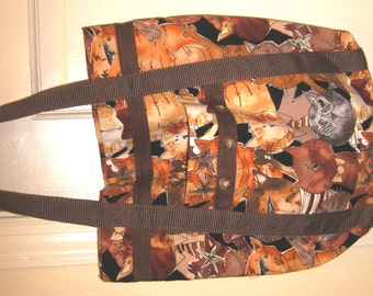 Cat Tote Bag Whimsical Brown, Tan and Yellow Kitty Cats