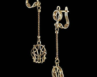 "Gold earrings ""Hamsa"""