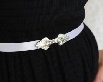 Wedding dress Belt, Silver Belt, White Belt, Wedding Accessories , Bridal belt - Wedding Sash, Bridal accessory, bridesmaids Dress Belt