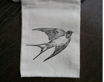 Swallow Bird Muslin Party Favor Bag