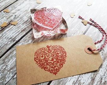 Love Heart Bird stamp, rubber stamp, heart stamp