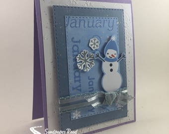 January Snowman greeting card
