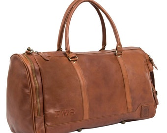 Handmade Leather Holdall/Duffle - Weekend Bag - Overnight Leather Bag in Vintage Brown by MAHI Leather