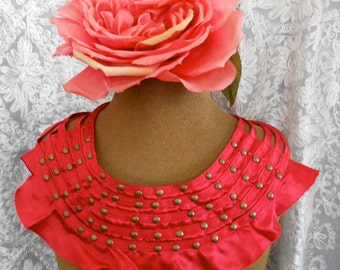 Red Satin Gold Beaded Appliques